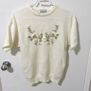Vintage Sears Tradition Floral Embroidered Sweater